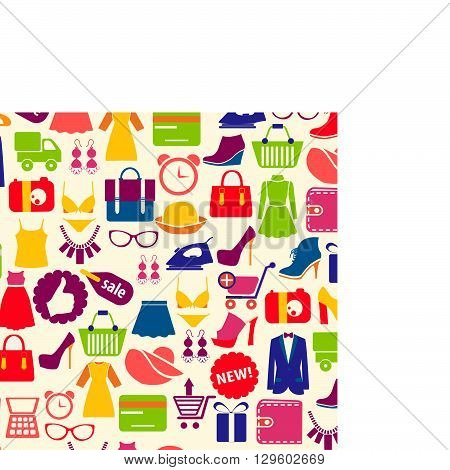 Vector background with Collection colorful shopping icons in flat style.Vector illustration.
