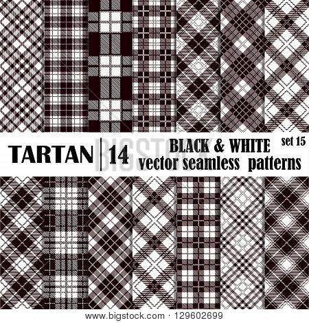 Set tartan seamless pattern in black and white colors. Lumberjack flannel shirt inspired. Seamless tiles. Trendy hipster style backgrounds. Vector file's pattern swatches