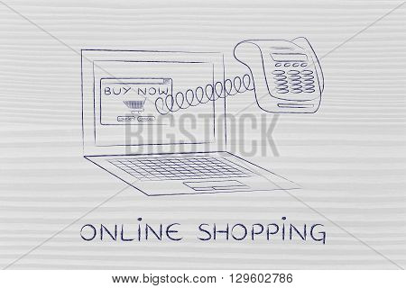 Laptop With Funny Pos Terminal Out Of Screen, Online Shopping