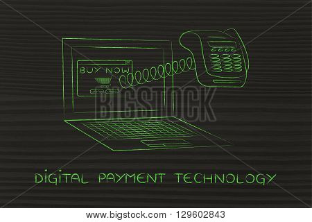 Laptop With Funny Pos Terminal Out Of Screen, Digital Payment Technology