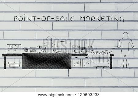 Cashier And Customer With Shopping Cart, Point-of-sale Marketing