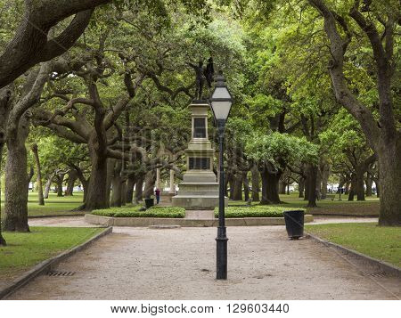 CHARLESTON, SOUTH CAROLINA-APRIL 12, 2016: Battery Park in downtown Charleston and the statue to the Second South Carolina Regiment