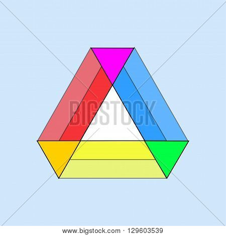 vector illustration of table of colored triangles on a blue background