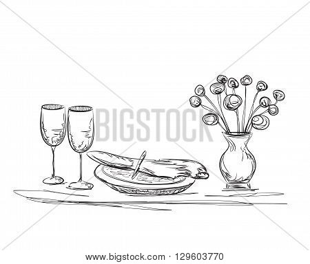Hand Drawn dinner. Flowers and dishes. Romantic dinner