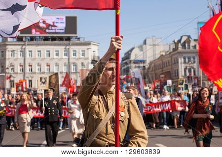 St.PETERSBURG, RUSSIA - MAY 9, 2016: Participants of Immortal Regiment - international public action, which takes place in Russia and some countries of near and far abroad in the Victory Day.