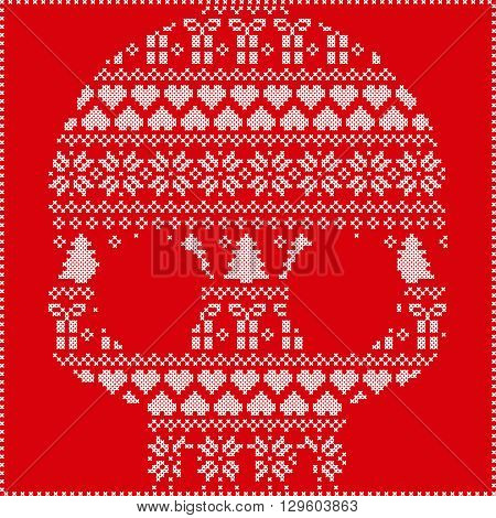 Scandinavian Norwegian style  winter stitching  knitting  christmas pattern in  in sugar skull  shape including snowflakes, hearts xmas trees christmas presents, snow, stars, decorative ornaments on red background