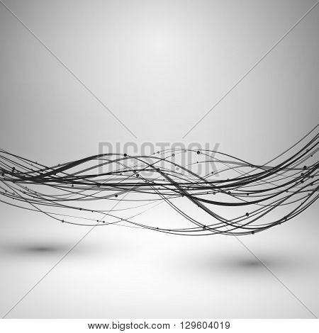 Abstract grayscale wave spin curves. Motion element with connected line and dots. Technology concept background. Wavy horizontal direction lines twisted together. Vector illustration.