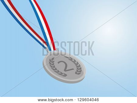 silver medal with ribbon on blue background. vector eps 10