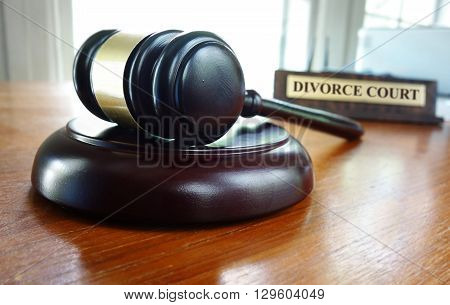Judge's court gavel with Divorce Court nameplate