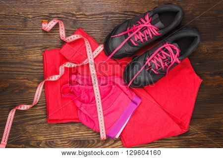Sport Items On The Wooden Background