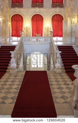 SAINT-PETERSBURG RUSSIA - March 14 2015: Staircase in Catherine's Palace in Tsarskoye Selo (Pushkin) 30 km south of Saint- Petersburg Russia