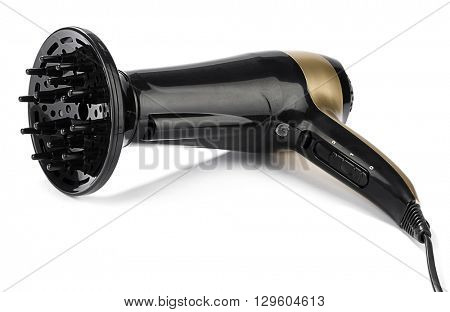 Hair dryer with rotating concentrator nozzle and a deep bowl diffuser isolated on white background.