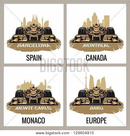 Set vintage poster Grand Prix. Barcelona Spain Montreal Canada Monte Carlo Monaco Baku Europe