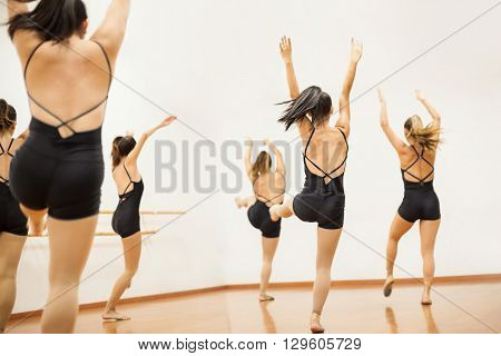 Group Of Women Practicing A Dance Routing