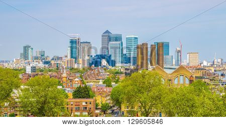 View of Canary Wharf from Greenwich hill of London England UK