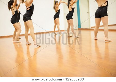 Young Women Working On Their Dance Moves