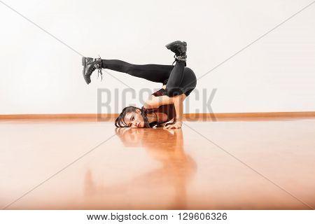 Jazz Dancer Upside Down In Dance Floor