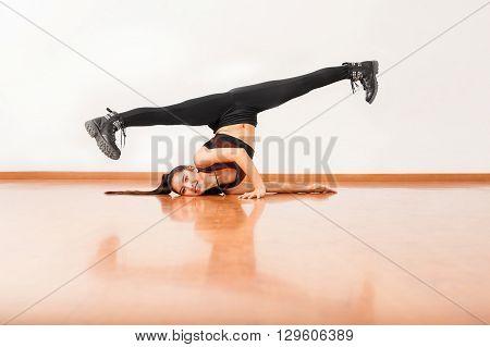 Pretty Dancer Doing A Split And Having Fun
