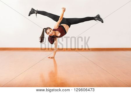 Dancer Doing A Handstand With Leg Split