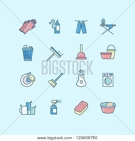 Washing, cleaning, laundry line color vector icons. Laundry icon, clean service washing, housework washing icon, wash equipment icon illustration