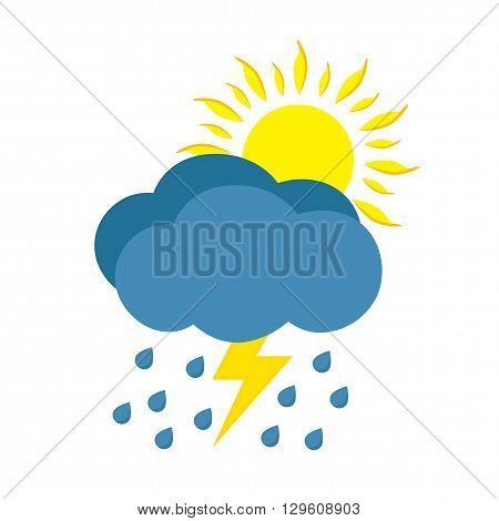 Sunny and rainy day with storm. Weather icon isolated on white background.
