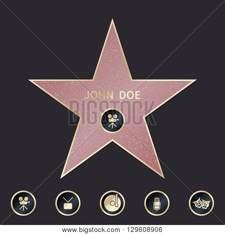 Walk of fame star with emblems symbolize five categories. Star hollywood, famous star sidewalk, emblem star boulevard, actor star illustration
