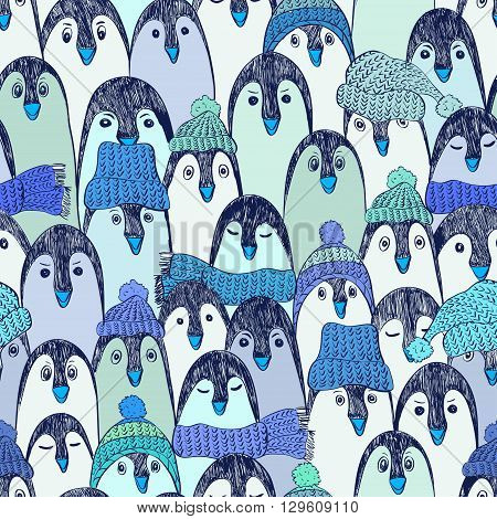 Blue seamless pattern with cute hand drawn penguins in hats and scarfs. Funny penguin background.