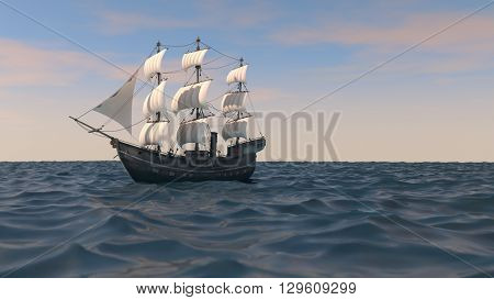 3d illustration of a ship with red in the ocean