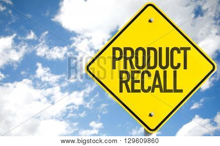 Product Recall sign with sky background