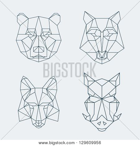 Low poly animals. Bear and wolf, fox and wild boar heads. Muzzle bear low poly, fox low poly, wolf low poly, wild boar low poly logo. Vector illustration