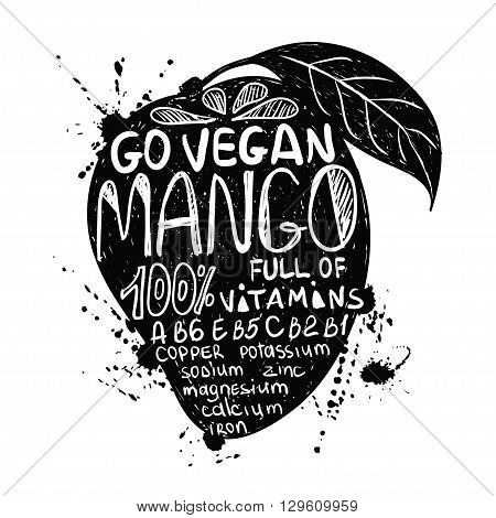 Hand drawn illustration of isolated black mango fruit silhouette on a white background. Typography poster with lettering inside the mango.