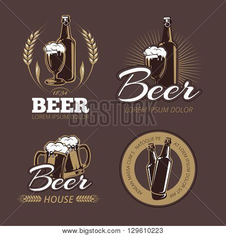 Color beer labels vector set. Beer badge, alcohol beer, lager beer bottle, beverage beer label illustration