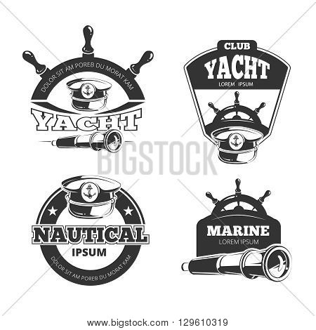 Nautical vector signs, labels and badges. Yacht and nautical club, marine yacht badge, label nautical yacht, vintage stamp logo yacht club illustration