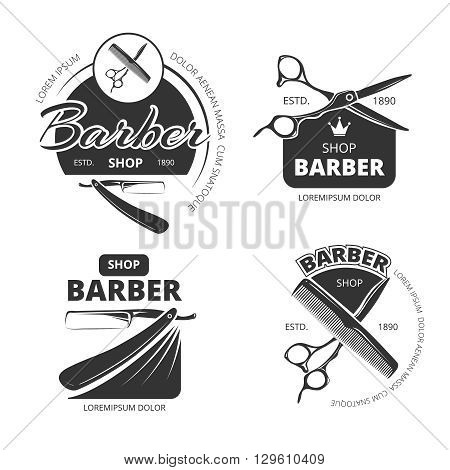 Retro barber shop vector logo, labels and badges. Label barber shop badge sign barber shop, vintage shop barber, emblem barber shop illustration