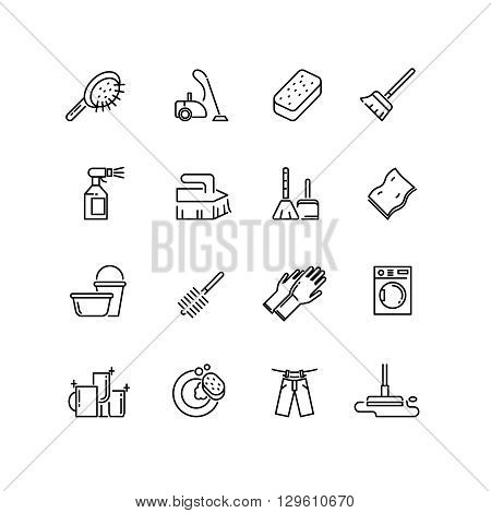 Cleaning line vector icons. Brush cleaning, equipment cleaning, broom icon, household cleaning, service icon cleaning illustration