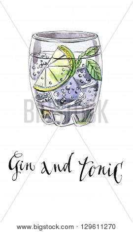 Glass of gin and tonic hand drawn - watercolor Illustration