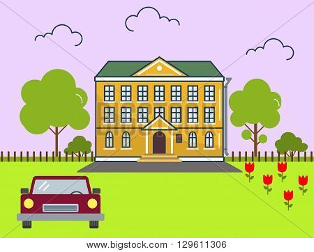 Building in flat design style. Vector illustration. On the picture the mansion, the car, trees and flowers are represented