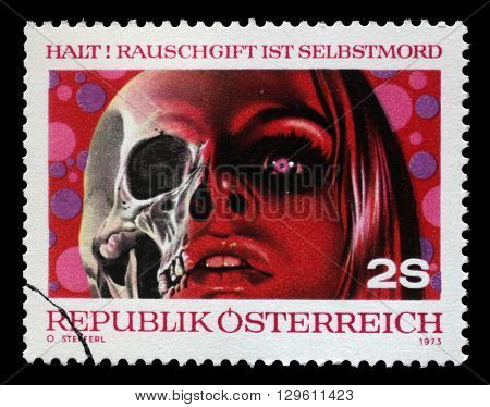 ZAGREB, CROATIA - JULY 02: stamp printed by Austria, shows Drugs are Death, circa 1973, on July 02, 2014, Zagreb, Croatia