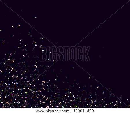 Colorful Confetti over dark background. Confetti template for banner, flyer, birthday. Vector illustration