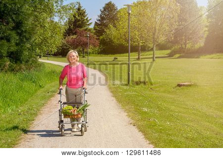 Elderly Woman Using A Walker To Do Her Shopping