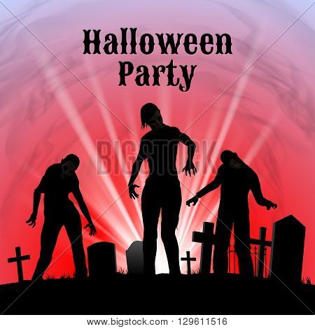 Spooky graveyard on the Halloween Night Halloween Party poster in black red and white with zombie