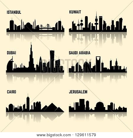 Middle East cities vector set. Jerusalem city, kuwait city, istanbul city, cairo city, saudi arabia and dubai city illustration