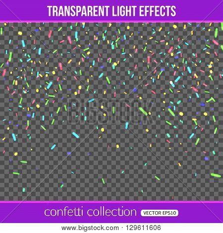 Carnival confetti over transparent background. Isolated confetti. Vector illustration
