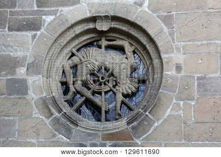 TUBINGEN, GERMANY - OCTOBER 21: Martyrdom of St George, Collegiate Church of St. George in Tubingen, Germany on October 21, 2014.