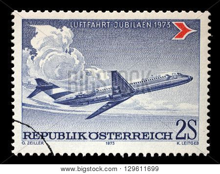 ZAGREB, CROATIA - JULY 02: stamp printed by Austria, shows Douglas DC-9, circa 1973, on July 02, 2014, Zagreb, Croatia