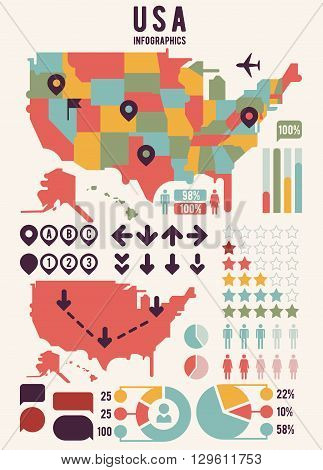 United States of America USA map with infographics elements. Usa map chart, usa map information, usa map graph banner, infographic usa. Vector illustration