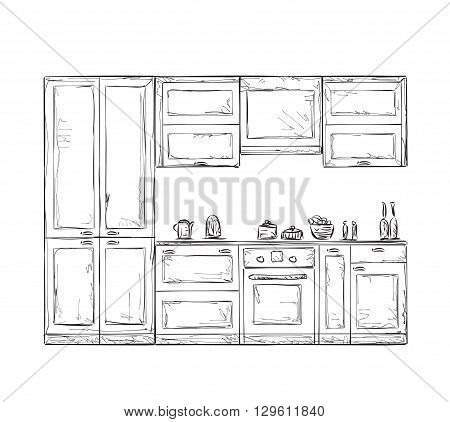 Kitchen cupboard, kitchen shelves. Hand drawn kitchen furniture
