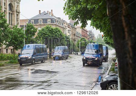 Police Vans Surveilling Protest