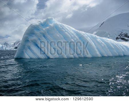 Unusual patterned large iceberg in Antarctic Ocean