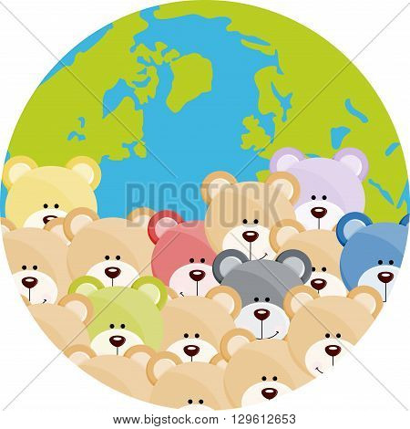 Scalable vectorial image representing a lot of teddy bear on world globe, isolated on white.